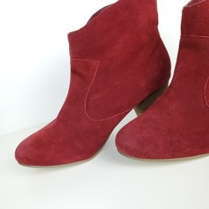 Suede Booties Red